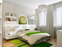 Sypialny pokój z zielonymi akcentami Fotografia Royalty Free