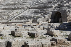 Syracuse amphitheatre. Ruins of the Greek amphitheatre at Syracuse Sicily Royalty Free Stock Photo