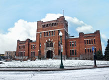 Syracuse armory. Syracuse, New York,USA, 1-01-2014. The old Syracuse Armory building in Armory Square in downtown, Syracuse, New york in winter. Now used as the stock photo