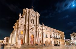Syracuse Cathedral and Archbishop`s Palace in Syracuse - Sicily, Italy. Syracuse Cathedral and Archbishop`s Palace in Syracuse at night - Sicily, Italy Royalty Free Stock Photos