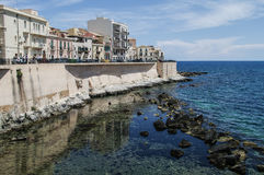 Syracuse. The frontage of old buildings at waterfront of Syracuse, Sicily, Italy Stock Photo