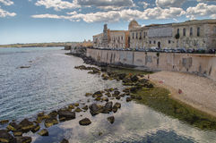 Syracuse. The frontage of old buildings at waterfront of Syracuse, Sicily, Italy Stock Photography