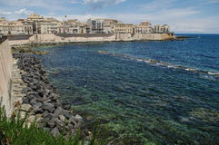 Syracuse. The frontage of old buildings at waterfront of Syracuse, Sicily, Italy Stock Images