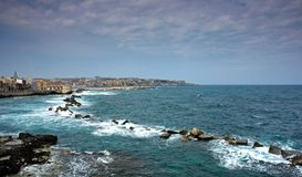 Syracuse harbor in sicily Royalty Free Stock Images