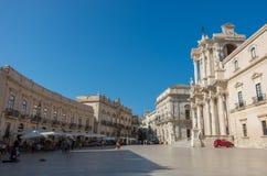 Baroque style Cathedral in piazza Duomo. Ortiga island, Syracuse Royalty Free Stock Photos