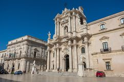 Baroque style Cathedral in piazza Duomo. Ortiga island, Syracuse Royalty Free Stock Photography