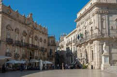 Baroque style piazza Duomo. Ortiga island, Syracuse city, in Sic Stock Photos