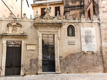 Syracuse, Italy - June 7, 2015: An old nunnery in Sicily. Facade of the nunnery Convitto Femminile and a boarding school in Siracusa, Sicily, Italy Royalty Free Stock Photography