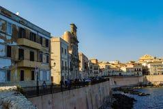 SYRACUSE, ITALY - October 06, 2012. The coastline in Ortigia island Royalty Free Stock Photography