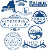 Syracuse, New York. Set of stamps and signs Stock Photos