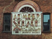 Armory Square sign. Syracuse, New York, USA. May 28, 2018. Old sign advertising the Armory Square district , a popular shopping and dining neighborhood , in royalty free stock photos
