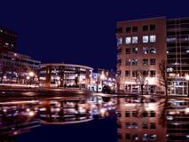Syracuse nowy York przy nocą Obrazy Royalty Free