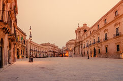 Syracuse, Sicily, Italy: the cathedral square Stock Images