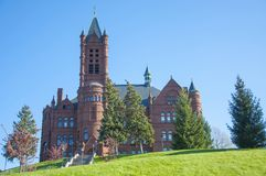 Syracuse University, Syracuse, New York, USA. John Crouse memorial College in Syracuse University, Syracuse, New York State, USA. This Romanesque building, built Royalty Free Stock Photo
