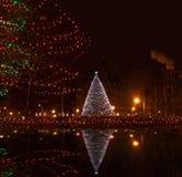 Syracuse van de binnenstad, ny bij christmastime Royalty-vrije Stock Foto's