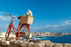 Syracuse views. Old red bicycle set in a wall along the seafront of Syracuse, Sicily, and the town in the distance Stock Photo