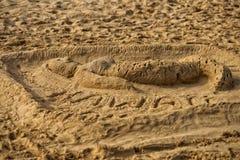 Syrenka piaska rzeźba na plaży Fotografia Royalty Free