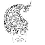 Syrenka portret, zentangle nakreślenie dla twój projekta ilustracja wektor