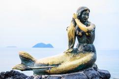 Syrenka przy Samila plażą Tajlandia obrazy royalty free