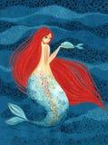 Syrenka z ryba w ręce - mitologiczna istota ilustracji