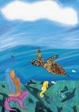 Syrenki podwodna scena Obrazy Royalty Free