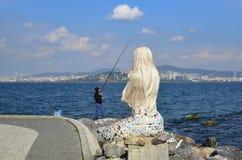 Syrenki statua na wyspie Buyukada Fotografia Royalty Free