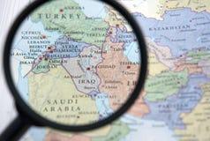 Syrië en het Midden-Oosten op een kaart Stock Afbeeldingen
