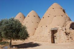 Syrië-klei die op woestijn voortbouwt stock afbeelding