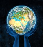 Syrië op aarde in handen Royalty-vrije Stock Afbeeldingen