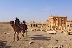 Syrië, Palmyra; 25 februari, 2011 - Tempel van baal-Shamin in de oude Semitische stad van Palmyra kort voor de oorlog, 2011 Stock Foto