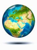 Syrië ter wereld met witte achtergrond Stock Afbeelding