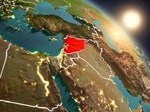 Syrië van ruimte tijdens zonsopgang Stock Afbeeldingen