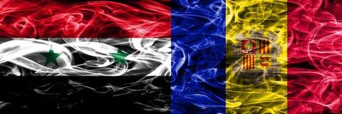 Syrië versus zij aan zij geplaatste de rookvlaggen van Andorra Dik gekleurd stock illustratie