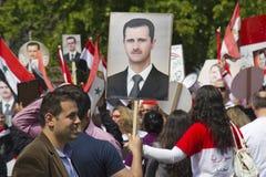 Syriërs verzamelen voor Assad Stock Foto