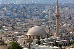 Syria - Aleppo. Panorama detail with mosque in Aleppo, Syria royalty free stock photo