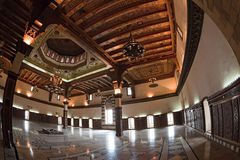 Syria - Aleppo. Famous fortress and citadel in Aleppo, Syria. Main hall made by Turkish Mamelukes. Mamluks made all engravings in the wood royalty free stock photos