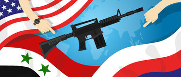 Syria America Russia USA proxy war arms conflict world international dispute money business hands control. Vector Stock Images
