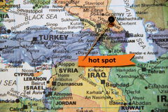 Syria as a Hot Spot on a World Map. A tag flags Syria as a hot spot on a world map Stock Photography