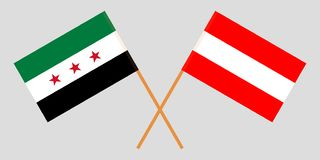 Syria and Austria opposition. The Syrian National Coalition and Austrian flags. Official colors. Correct proportion. Vector. Illustration stock illustration