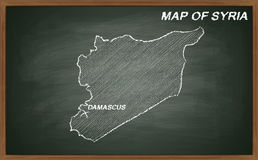 Syria on blackboard Stock Images
