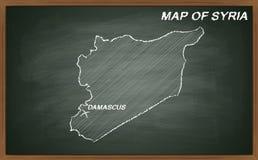 Syria on blackboard Stock Images