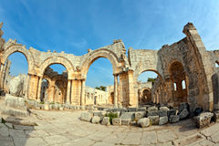 Syria - Church Of St. Simeon - Qal A Sim An Stock Photos