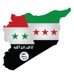 Syria Conflict. Map of Syria showing the three warring factions dividing the county translation on flag reads there is no God but God Mohammed is his messenger Stock Photo