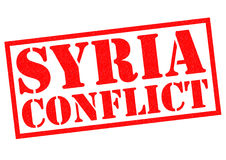 SYRIA CONFLICT. Red Rubber Stamp over a white background Royalty Free Stock Photos