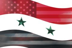 Syria country overlay with USA flag. Wave illustration Stock Photo