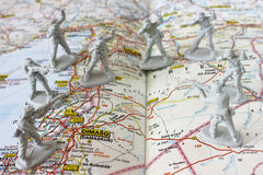 Syria crisis. Soldiers and UN  observers on a map with city of Damascus in focus - Syria crisis Royalty Free Stock Photo