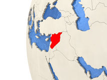 Syria on 3D globe. Map of Syria on globe with watery blue oceans and landmass with visible country borders. 3D illustration stock illustration
