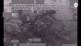 SYRIA DAYR AZ ZAWR, DECEMBER 2015, Airstrike On Daesh Main Oil Pump Station Syria stock video