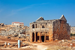 Syria - The Dead Cities. Serjilla is one of the Dead Cities in Syria. Two-store tavern. Unique among Roman / Byzantine ruins and suddenly abandoned in the past stock photography