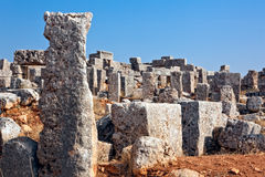 Syria - The Dead Cities. Serjilla is one of the Dead Cities in Syria. Unique among Roman / Byzantine ruins and suddenly abandoned in the past. Stones detail for royalty free stock images